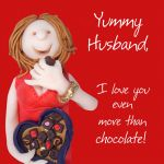 Valentines Day Card - Yummy Husband Chocolate - Funny Humour One Lump Or Two