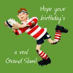Birthday Card - Male Funny Humour Grand Slam Rugby One Lump Or Two