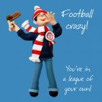Birthday Card - Male Funny Football Crazy One Lump Or Two