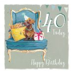 40th Birthday Card - Dachshund Dog - The Wildlife Ling Design