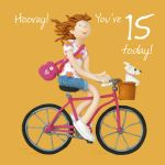 15th Female Birthday Card - Hooray! Bike One Lump Or Two