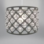 Lampshade - Dark Grey Metal & Droplets Bijou