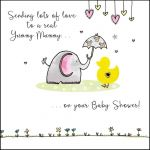 Baby Shower Card - Yummy Mummy Elephant - Saffron Ling Design