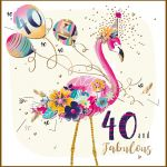 40th Birthday Card - Female Flamingo - Strawberry Fizz Talking Pictures