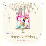 50th Birthday Card - Female Cake - Strawberry Fizz Talking Pictures