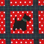 Greetings Card Open - Black Scottie Dog