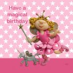 Birthday Card - Cute Fairy & Unicorn - Girl - Ferdie & Friends