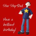 Birthday Card - Star Step-Dad - Male Funny One Lump Or Two