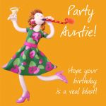 Birthday Card - Party Auntie - Female Funny One Lump Or Two