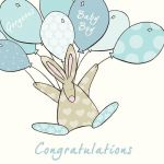 New Baby Card - Congratulations Baby Boy Christening - Rufus Rabbit
