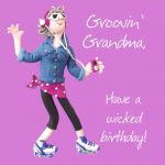 Birthday Card - Grooving Grandma - Female Funny One Lump Or Two