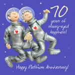 Wedding Anniversary Card - 70th Seventieth 70 Years Platinum Starry-eyed One Lump Or Two