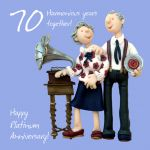 Wedding Anniversary Card - 70th Seventieth 70 Years Platinum Gramophone One Lump Or Two