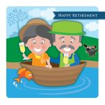 Retirement Card - Couple In A Boat - Googlies Ling Design