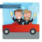 Wedding Day Card - Civil Partnership Male Couple Gay - Googlies Ling Design