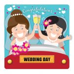 Wedding Day Card - Civil Partnership Female Couple Lesbian Bride - Googlies Ling Design