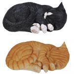 Cat Sleeping 2 Colours - Lifelike Garden Ornament - Indoor or Outdoor - Real Life Ginger Black