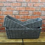 Grey Rectangle Baskets Home Storage Bedroom Office Kitchen - 3 Sizes