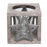 Star Design Tealight Holder - Rustic Finish
