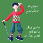 Birthday Card - Male Golf Firm Putt Funny One Lump Or Two
