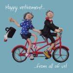 Retirement Card - From All Of Us - Office Work Group Hug One Lump Or Two