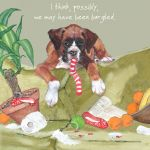 Greetings Card - Boxer Puppy - Burgled - The Little Dog