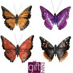Butterfly - Garden Wall Ornament - Indoor or Outdoor - 4 Colours Purple Orange Yellow Brown