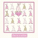 New Baby Christening Card - Girl - One in a Million Pink - Rufus Rabbit