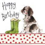 Birthday Card - Dog Springer Wellies - Sparkle - Alex Clark
