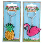 Flamingo & Pineapple Novelty PVC Keyring - Tropical