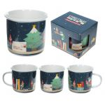 Elf on the Shelf Christmas Enamel Style China Mug