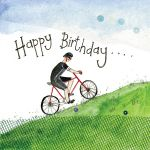 Birthday Card - Cycling Hill Climb Bike - Sparkle - Alex Clark