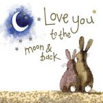 Wedding Anniversary Card - Love You To The Moon & Back - Sparkle - Alex Clark