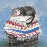 Greetings Card - Laundry Basket Cat - Alex Clark