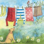 Greetings Card - Washing Line Dog - Alex Clark