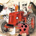 Greetings Card - Big Red Tractor Vintage Farmyard - Alex Clark