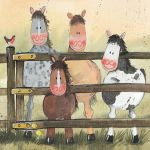 Greetings Card - Ponies Horses - Alex Clark