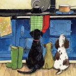 Greetings Card - Hotdogs Dogs Wellies Aga - Alex Clark