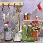 Greetings Card - Gardeners Hut Wellies Gardening - Alex Clark