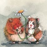 Greetings Card - Ginger & Patch Guinea Pigs - Alex Clark