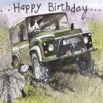 Birthday Card - Male Off Roading Land Rover - Alex Clark