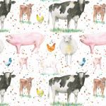 Farm Animals Cow Pig Wrapping Paper Sheets & Tags - Arty Penguin