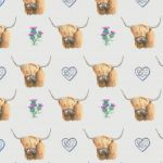 Highland Cow Scottish Wrapping Paper Sheets & Tags - Arty Penguin