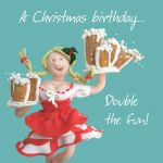 Birthday Card Christmas - Double the Fun Beer - Funny Humour One Lump Or Two