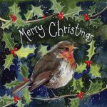 Christmas Card Charity Pack - Holly & Berries Robin - Alex Clark