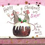 Christmas Card - Sister Xmas Pudding - Sparkle - Alex Clark