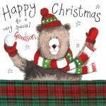 Christmas Card - Grandson Bear - Sparkle - Alex Clark