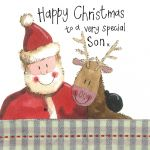 Christmas Card - Son Santa Reindeer - Sparkle - Alex Clark
