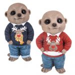 Christmas Jumper Baby Meerkat Ornament Gift - Indoor or Outdoor - Fun - 2 Colours Red Blue