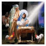 Christmas Card - Religious Nativity - Around the Manger - Ling Design